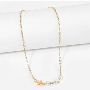 Gold Dove Pearl Small Short Charm Necklace